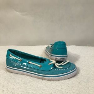 SZ 5M Girls Turquoise, sparkle Sperry. Great cond.